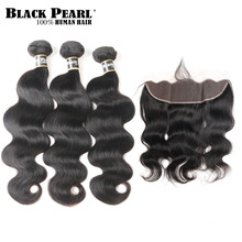 Black Pearl Body Wave Bundles With Frontal Closure Brazilian Hair Human Non Remy 13X4 Lace
