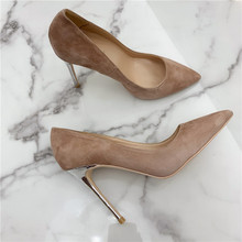 Free shipping fashion sexy lady Camel suede Point Toe High Heels pumps shoes Stiletto heel 12cm 10cm 8cm