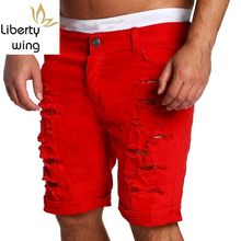 New Mens Denim Shorts Fashion Solid Ripped Casual Jeans Personalized Streetwear Men Hip Hop Short Pants Knee Length Black(China)