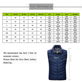 2019 Winter Mens USB Heating Electrical Vests Men Warm Sleeveless Heated Jacket Men Classic Heating Intelligent Vests Overcoats 2