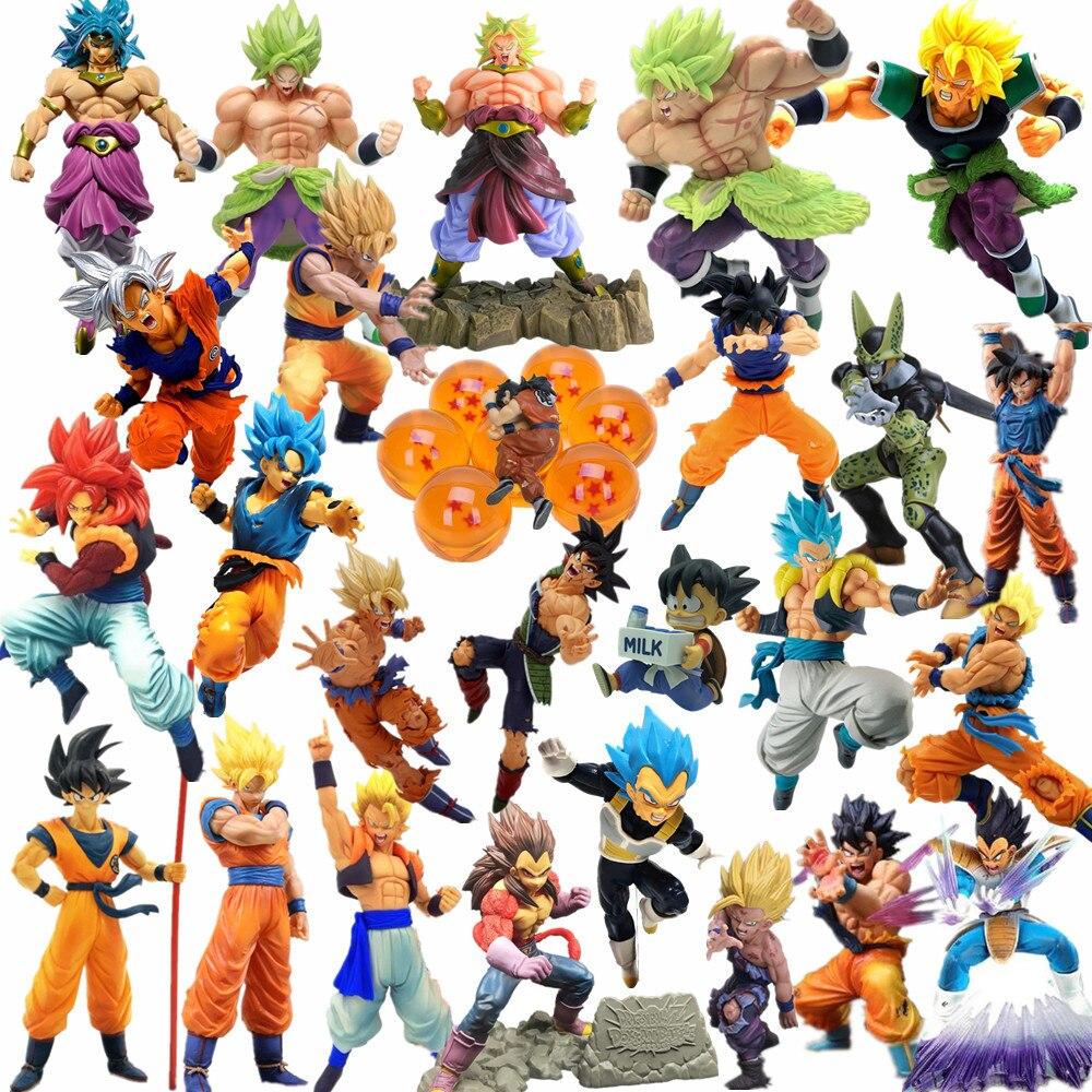 Dragon Ball Z Action Figures Goku Gohan Vegeta Broly Toy Anime Dragon Ball Super Crystal Balls Figurine Collectible Toys DBZ