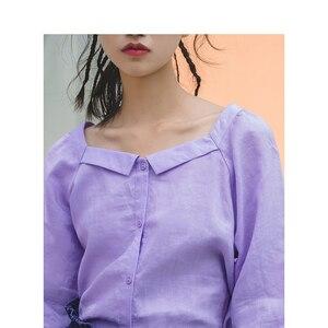 Image 3 - Женская блузка в стиле ретро с квадратным вырезом и рукавом три четверти