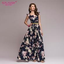 S.FLAVOR Women printing party vestidos De Festa Elegant fashion sleeveless ruffles long dress Elegant Women Bohemian dress