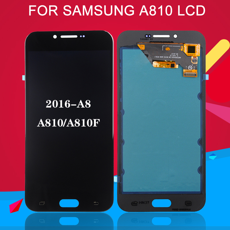 OLED LCD A8 2016 display touch screen encoding converter assembly for Samsung Galaxy A810 LCD SM-A810 A810DS A810F image