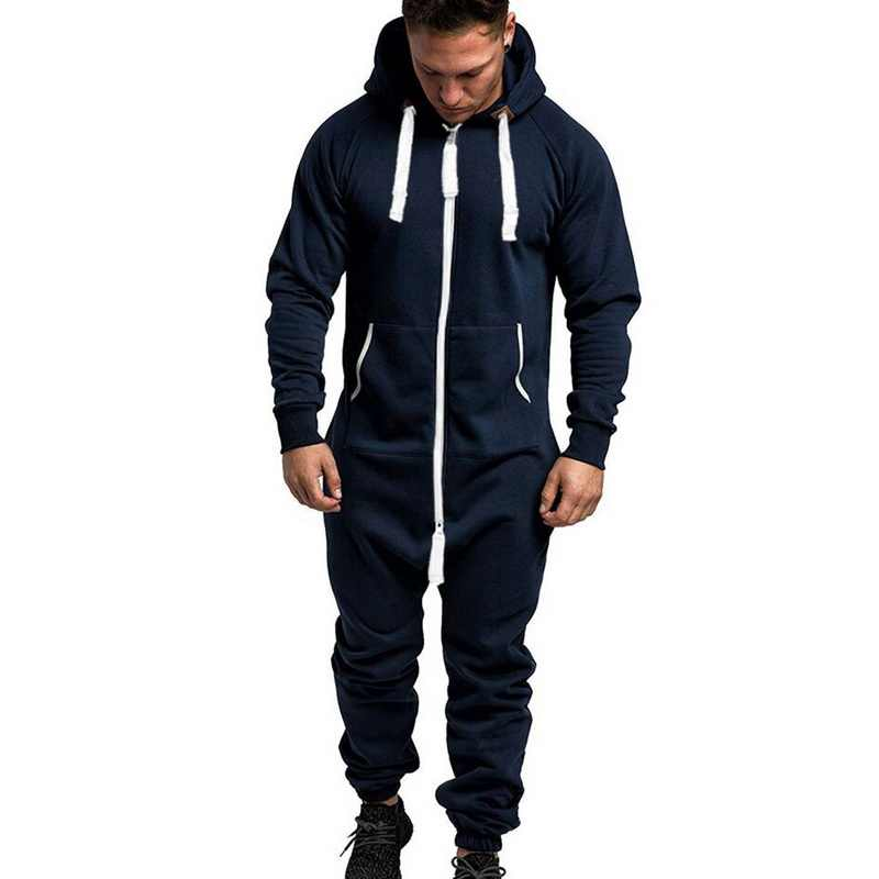 1 Stuk Fleece Mannen Jumpsuit Winter Warm Patchwork Rits Mannen Overalls Mode Sport Losse Casual Hoodies Playsuit Streetwear