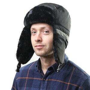 Image 4 - חורף כובע גברים נשים מפציץ כובע עם צעיף נגד אובך רוסית Ushanka תרמית הצייד כובע טרופר Earflap שלג סקי גרב