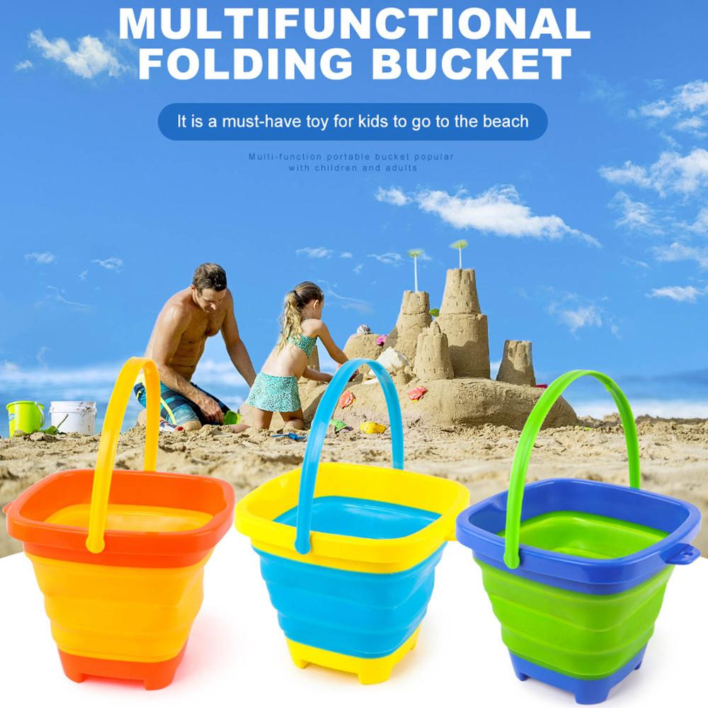 Kids Portable Silicone Foldable Sand Bucket Beach Sand Water Play Tool Toy For Summer Outdoor Camping Play Home Fishing Storage