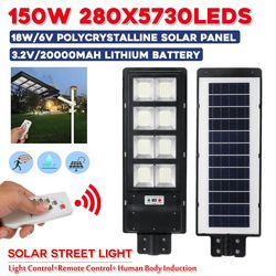 150 Вт 280 светодиодный s солнечный уличный свет IP67 Водонепроницаемый 3 режима PIR датчик движения светодиодный уличный сад с пультом дистанцион...