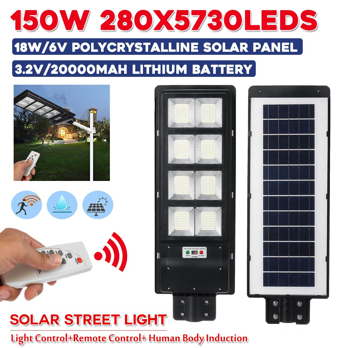 150w 280LEDs Solar Street Light IP67 Waterproor 3 Modes PIR Motion Sensor LED Outdoor Garden W/Remote Controller Light Control