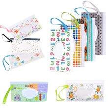 Tragbare Baby Feuchttücher Lagerung Tasche Wischen Box Reinigung Tücher Baby Mehrweg Reinigung Tücher Tragetasche Mode Druck Baby Pflege