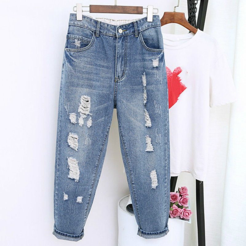Boyfriend Jeans For Women Spring Summer High Waist Casual Ripped Hole Denim Pants Female Loose Harem Jeans Trousers Plus Size