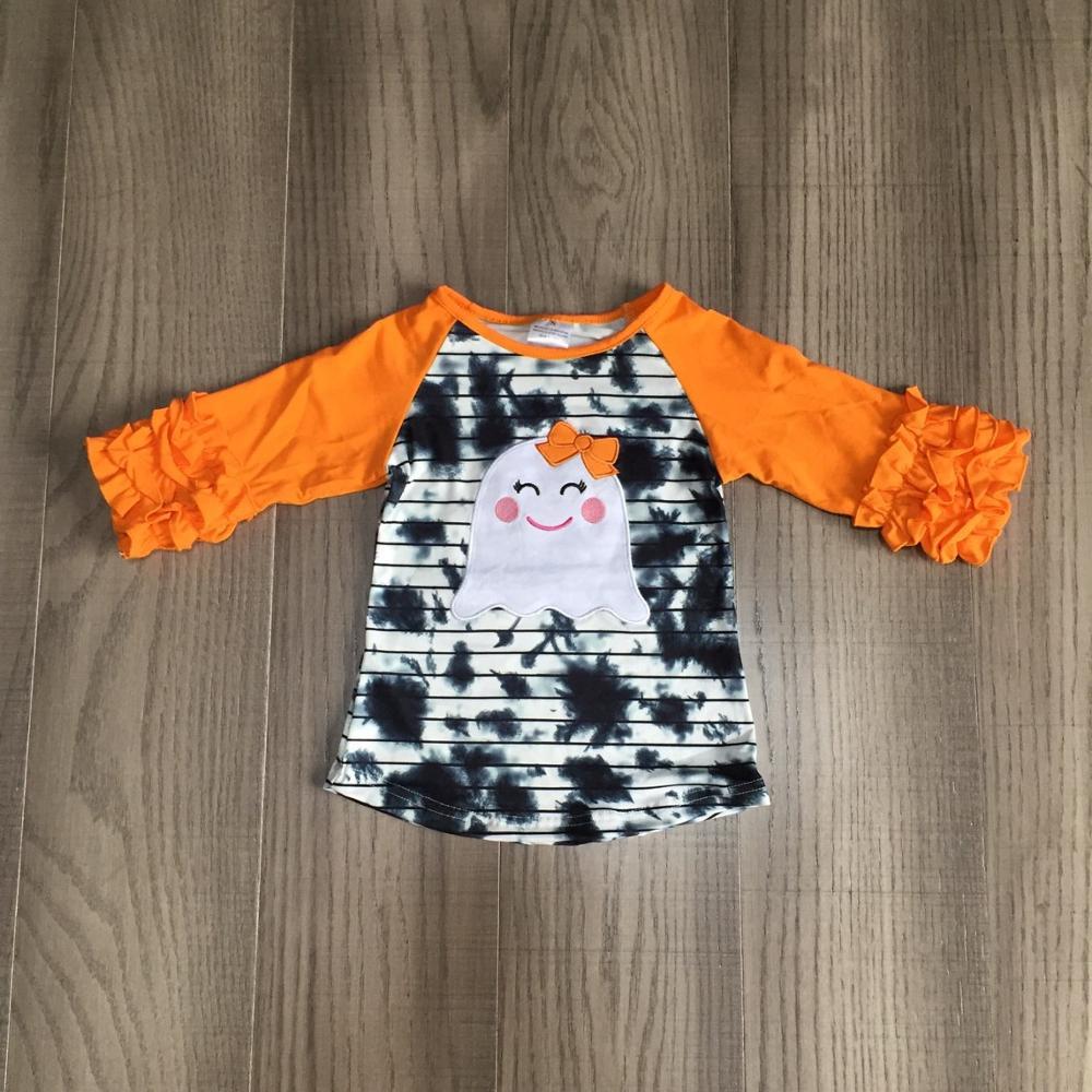 Girlymax Fall Halloween orange grey tie dyed skull ghost cotton top icing sleeve t-shirt baby girls raglans boutique kidswear 1
