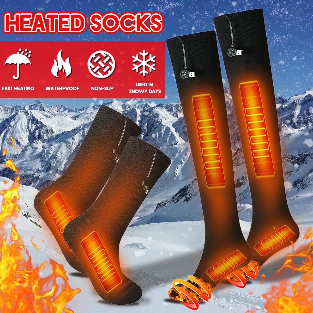 3-gear 38-70 Degree USB Rechargeable Men Women Intelligent Electric Heating Long Socks Winter Warm Socks Kit For Cold Feet