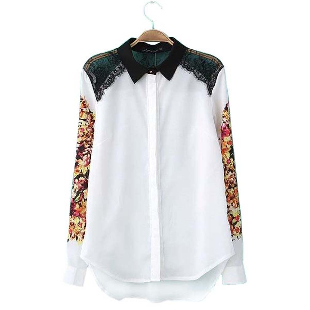 2021 Fashion Blouses Women's Tops And Chiffon Blouse Designer Runway Causal Floral Print Long Sleeve Shirt Ladies Blouses L
