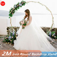 2M Hoop Round Circle Backdrop Metal Arch Stand Frame Wedding Props Background