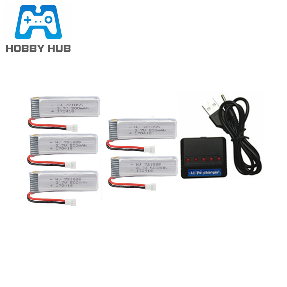 3.7v 500mAh Lipo <font><b>Battery</b></font>+3.7v Charger for JJRC H37 E50 T37 rc Drone Helicopter parts 721855 3.7V <font><b>Battery</b></font> For H37 image