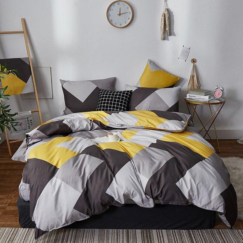 Alanna Модный комплект постельного белья из чистого хлопка а/б двусторонний узор простая простыня, пододеяльник наволочка 4 7 шт|Наборы постельного белья|   | АлиЭкспресс
