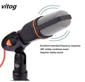 Image 2 - Neue Mikrofon 3,5mm Audio Wired Stereo Kondensator Mikrofon Mit Halter Ständer Clip Für PC Chatten Gesang Karaoke Laptop Mic