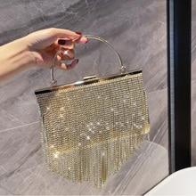 Rhinestones Handbags for Women 2021 Luxury Designer Shopper Wallets Fashion Elegant Tassel Rectangle Evening Bags Crossbody Bags