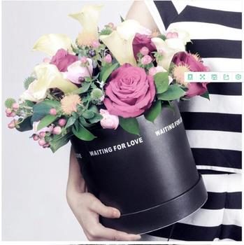 2pcs/set Round paper gift box hand cylindrical bucket gift box flower bouquet packaging box free shipping