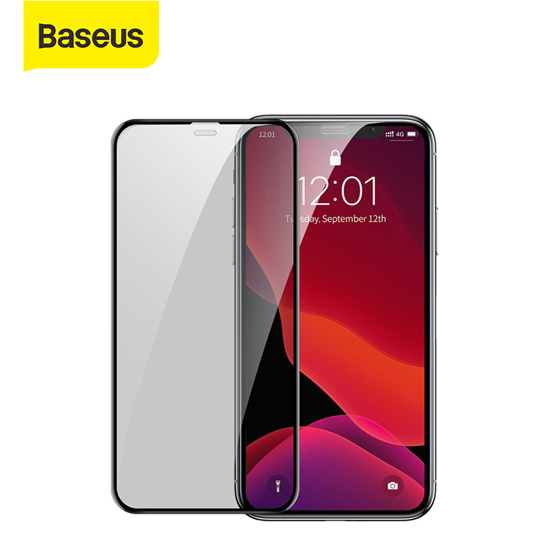 Baseus 2Pcs 0.3mm Glass Full screen Curved Privacy Tempered  Screen Protector Protective Glass Film For iPhone 11 Pro Max XR X|Phone Screen Protectors| |  - title=
