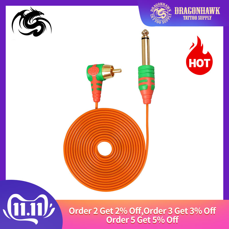 Silicone Tattoo Cord RCA 2m Clip Cord Rubber For Tattoo Machine Pen Machine Wire Tattoo Power Supply