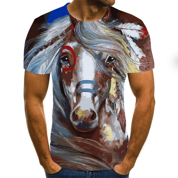 The latest design of men's summer T-shirt fashion trend printed animal horse tshirts men and women s
