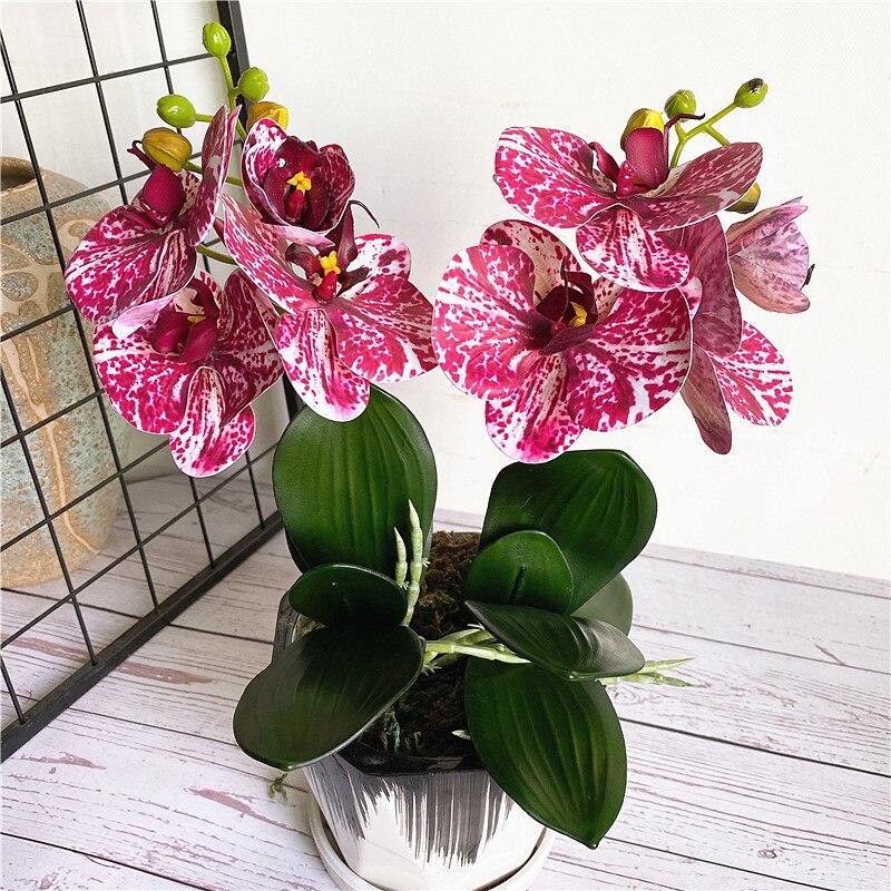 4 головки/ветки орхидеи мини ветки с стволом искусственные листья цветов бабочка Орхидея для дома свадебное украшение Флорес