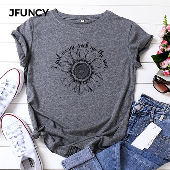 JFUNCY Plus Size Women Summer T Shirt Sunflower Printed T-Shirt 100% Cotton Woman Shirts Loose Casual Tee Tops Female Tshirt jfuncy cute avocado cat print oversize women loose tee tops 100% cotton summer t shirt woman shirts fashion kawaii mujer tshirt