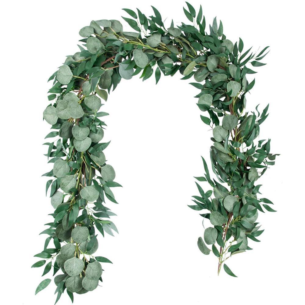 1 шт. искусственные листья эвкалипта гирлянда с ивовой лозой ветки листья для свадебной вечеринки настольный бегун зелень гирлянда в помеще...
