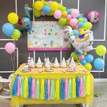 6pcs/lot Llama Party Disposable Tableware Set Paper Plates/Cups/Napkins/Straw Alpaca Baby Shower Decoration Supplies