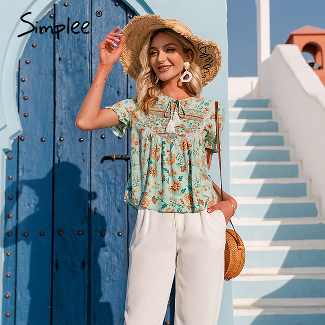 Simplee Ethnic holiday floral print loose women blouse summer Casual bow sash tassel shirts female Ruffled o-neck short top lady 5