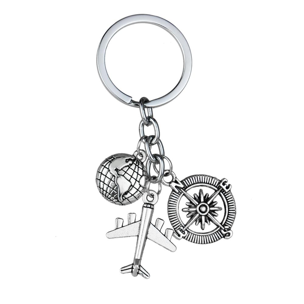 12PC Traveler Keyring Earth Airplane Compass Charm Pendant Keychain Travel Key Ring Best Friends Friendship Gift Jewelry Fashion image