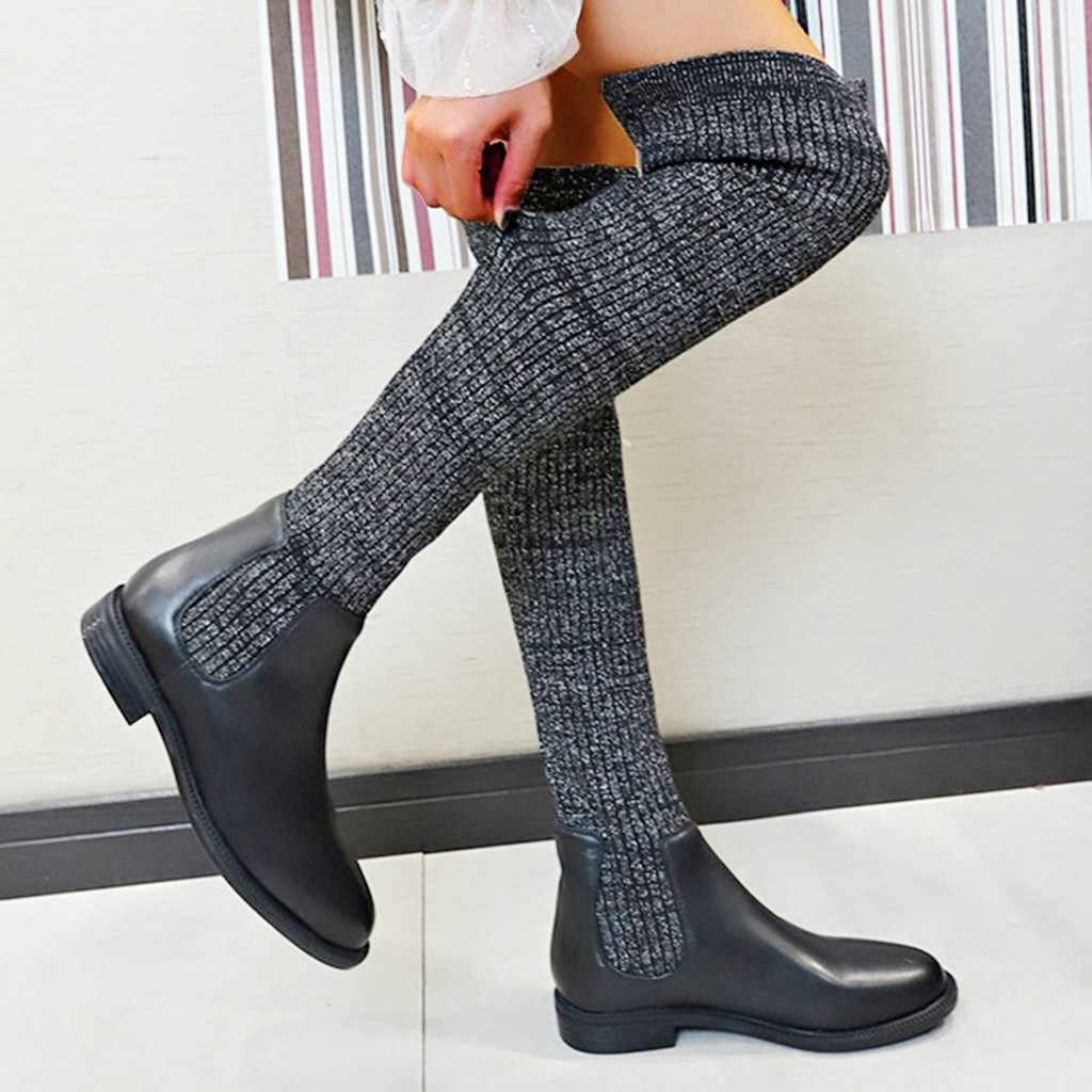 Women's over knee sock boots winter warm knitting boots for Lady Low suqre heel Slip On Winter Long Boot chaussures femme#107G30