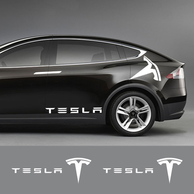 1Pair Car Styling Rear Door Stickers Decals Body Side Logo Stripe Trim Sticker Exterior Decor for Tesla Model 3 X S Accessories 1