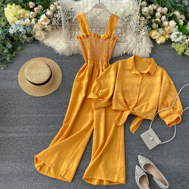 Vacation Style Two-piece Set 2020 New Suspenders Pleated Wide Leg Jumpsuit + Short-sleeved Cardigan Shirt Women Tide