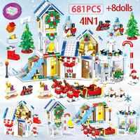 741 sztuk zima wioska bałwan boże narodzenie drzewo klocki dla Legoing boże narodzenie santa Claus figurki cegły zabawki dla dzieci