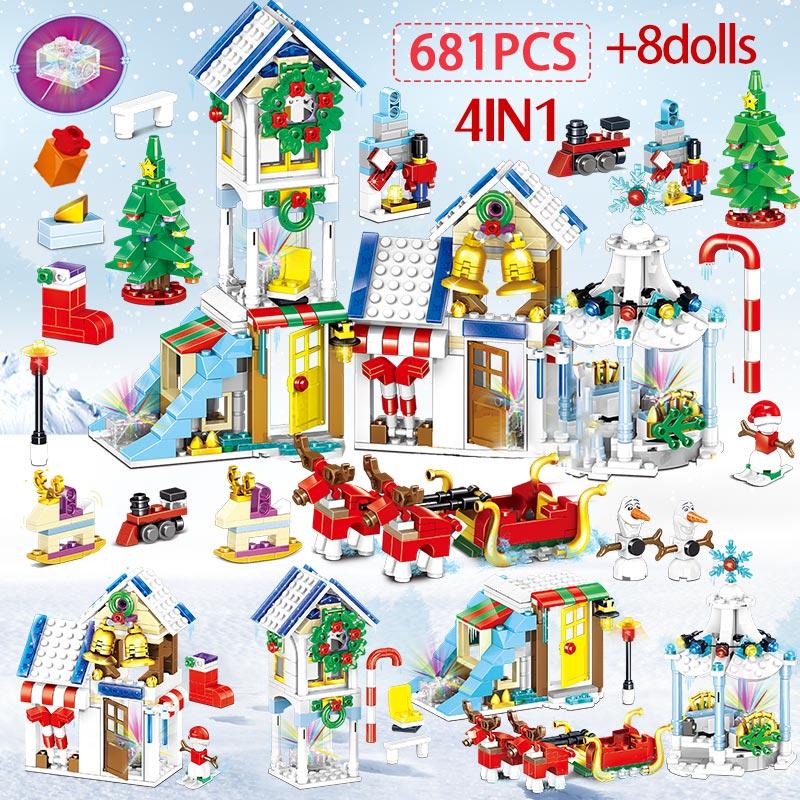 741pcs Winter Village Snowman Christmas Tree Building Blocks Legoinglys Christmas Santa Claus Figures Bricks Toys For Kids Gifts