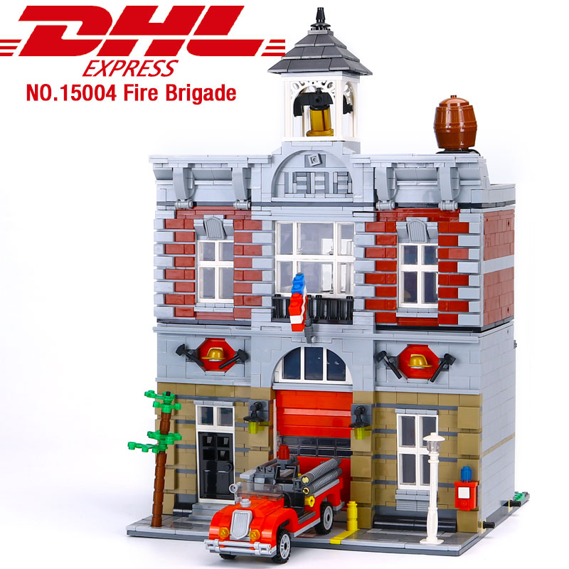 15004 City Street Fire Brigade Town Hall Building Kits Blocks Bricks 2313Pcs Compatible with <font><b>10197</b></font> Children Gifts image