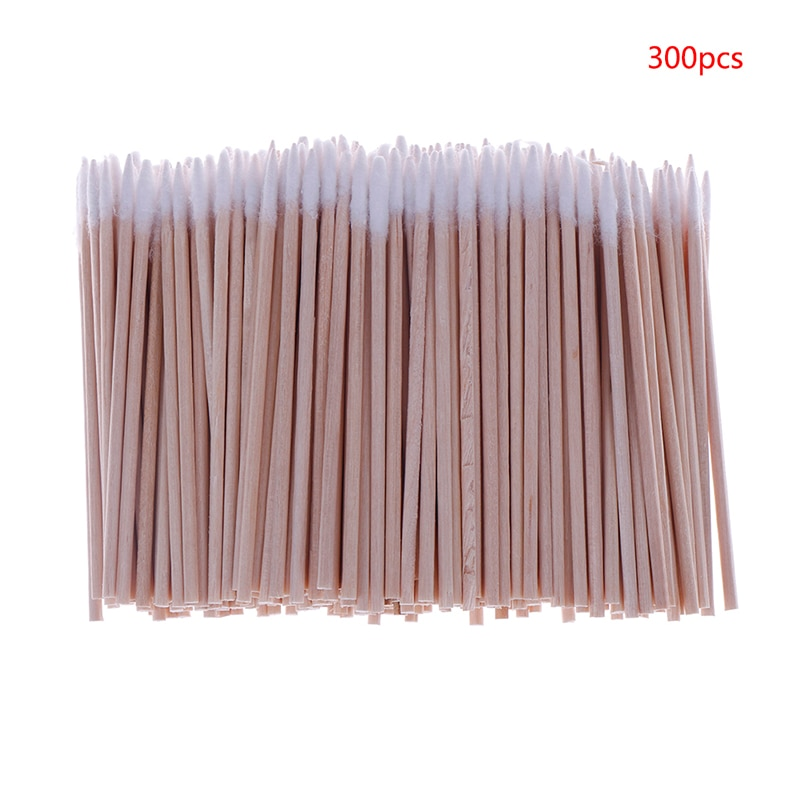 300pcs Useful Wood Handle Cotton Swabs Mini Tip Head Cotton Swab Eyebrow Tattoo Makeup Color Nail Seam Dedicated Dirty Picking