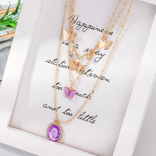 Peixin New Charm Purple Pendant Bohemian Fashion Multilayer Butterfly Necklace Retro Zircon Crystal Set