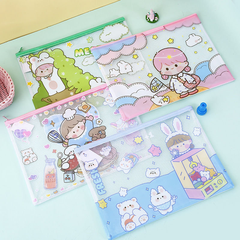 Kawaii Transparent Cute Little Girls A4 A5 B6 Mini File Bag Pencil Case Pocket Folders Filing Products Document Zipper Bag