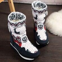 Platform Shoes Women Large Size 43-44 Fashion Warm Mid Calf Boots Winter Short Plush Animal Print Snow Boots Ladies Wedges цена 2017