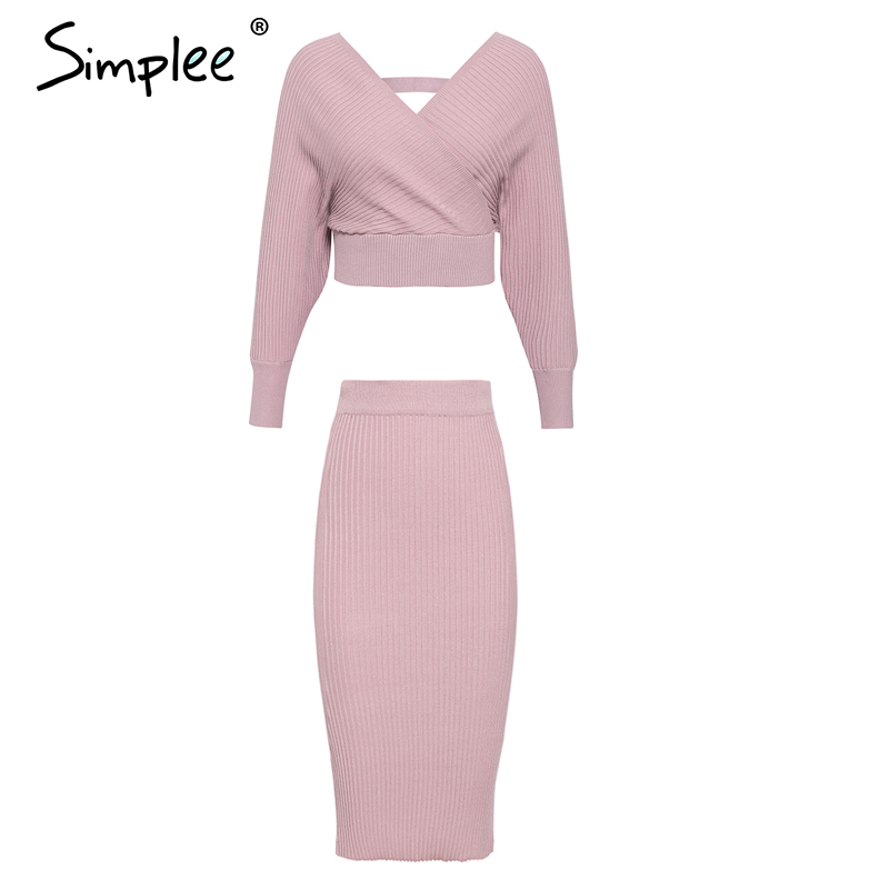 Simplee Sexy v-neck women knitted skirt suits Autumn winter batwing sleeve 2 pieces Elegant party female sweater pink dress 5