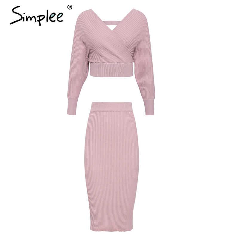 Simplee Sexy v-neck damska spódnica z dzianiny garnitury jesienno-zimowa rękaw w kształcie skrzydła nietoperza 2 sztuki elegancka impreza kobiecy sweter różowa sukienka