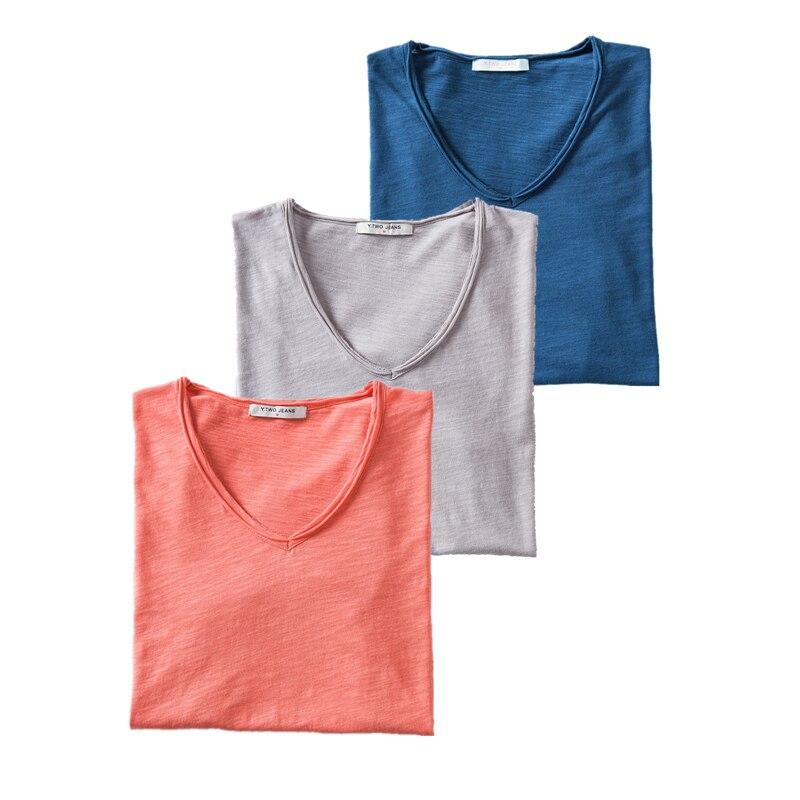 GustOmerD 3PCS 100% Cotton Soild T Shirt Men Casual V-Neck Short Sleeve Mens T-Shirts Soft Feel High Quality Male Tops Tees