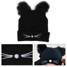 Женские шапки, модные мешковатые теплые вязаные вязанные крючком зимние хип-хоп уникальные шерстяные вязаная Лыжная шапка с черепом, женская шапка с котом