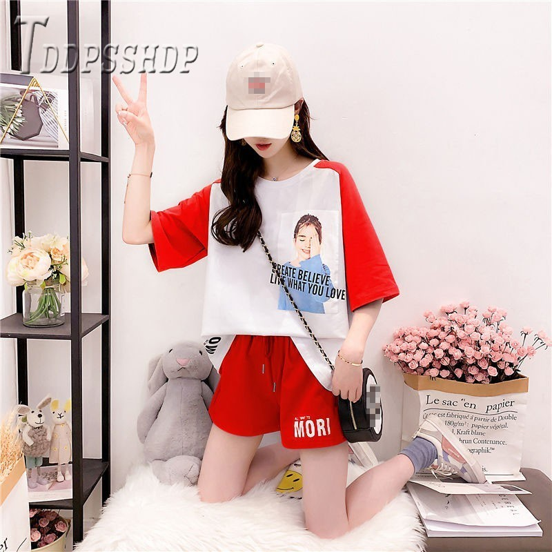 2019 Summer <font><b>Hongkong</b></font> Style Women Sets Half Sleeve <font><b>T</b></font> <font><b>Shirt</b></font> And Casual Shorts Female Sets image