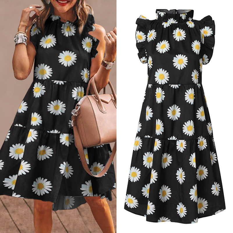 Summer Short Dress Women Sexy Sleeveless Ruffled Dress Beach Holiday Sundress 2021 VONDA Bohemian Vestidos Plus Size Robe Femme 5