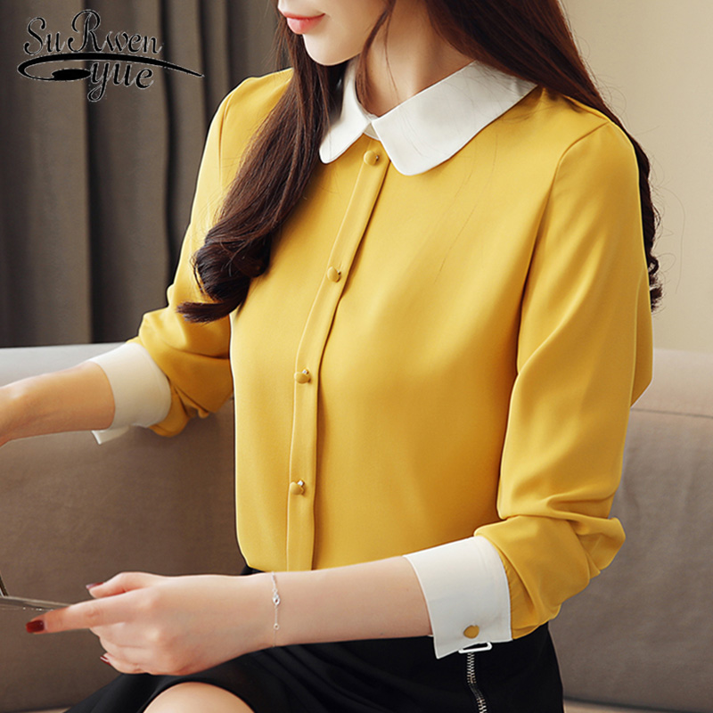 Mujer De Moda 2020 Womens Tops and Blouses Blusas Chiffon Blouse Button Solid Turn-down Collar Plus Size Shirts Female 1987 50